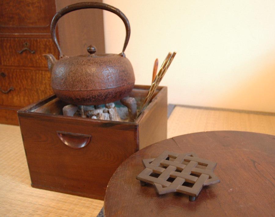 火鉢 備長炭 鉄瓶